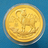 2015 Australia Lunar Zodiac Year of the Goat 24K Gold Plated Coin