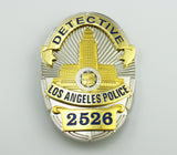 LAPD Los Angeles Police Detective Badge Solid Copper Replica Movie Props With Number 2526
