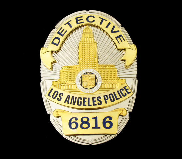 LAPD Detective Los Angeles Police Badge Solid Copper Replica Movie Props With Number 6816