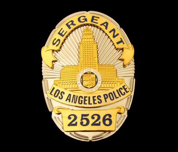 LAPD Sergeant Los Angeles Police Badge Solid Copper Replica Movie Props With Number 2526