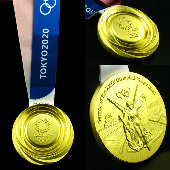 Tokyo 2020 Olympic Gold Medal With Ribbon 1:1 Full Size Replica