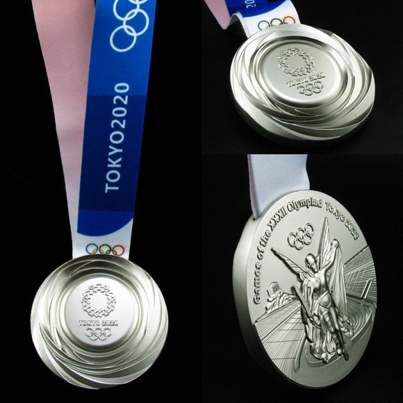 Tokyo 2020 Olympic Silver Medal With Ribbon 1:1 Full Size Replica