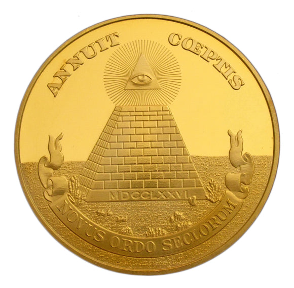 Masonic Freemason Symbol Pyramid All-seeing Eyes Gold Color Challenge Coin