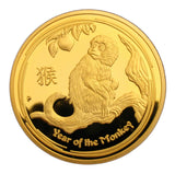2016 Australia Lunar Zodiac Year Of the Monkey 24K Gold Plated Coin