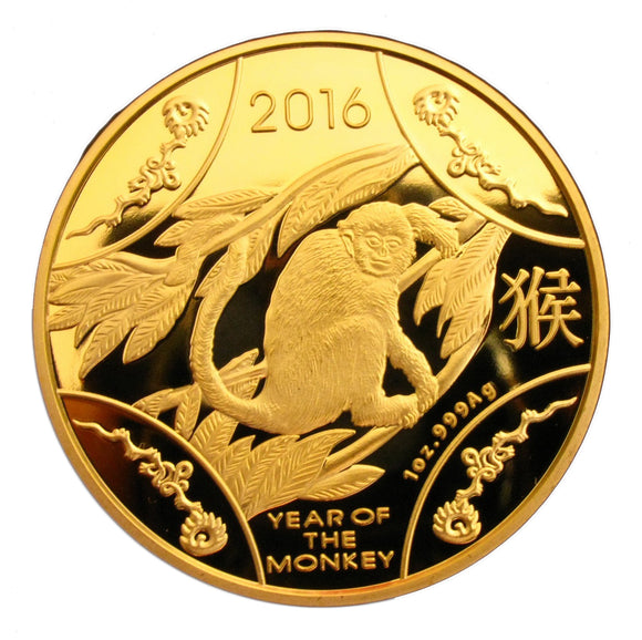 2016 Year Of the Monkey Australia Lunar Zodiac 24K Gold Plated Coin Collectable