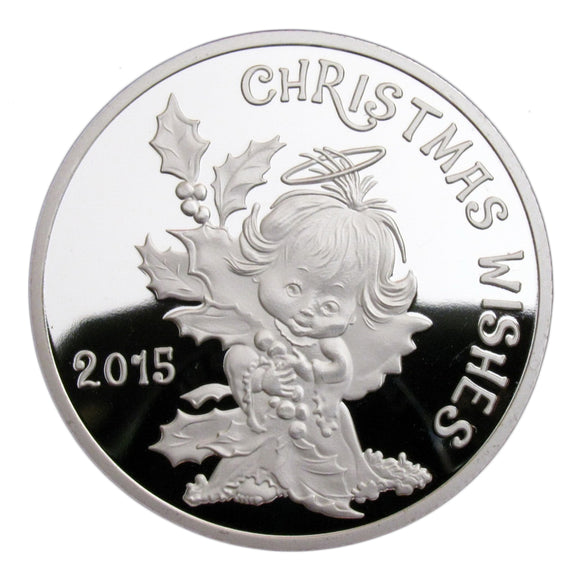 Santa Claus Reindeer Little Angel Merry Xmas Wish Gift Silver Coin