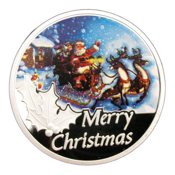 Merry Christmas Santa Claus Missing Reindeer Silver Coin Xmas New Year Gift