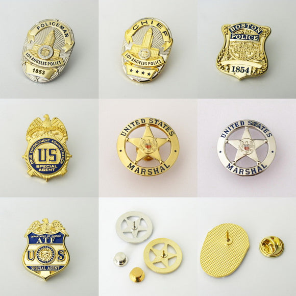 US Police Badge Cop Brooch Pin Mini Version
