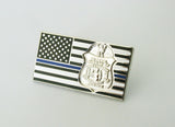 US American Flag Police Badge Brooch Pin