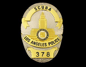 LAPD SCUBA Los Angeles Police Badge Replica Movie Props With Number 378