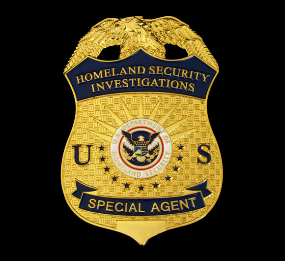 US HSI Homeland Security Investigations Special Agent Badge Solid Copper Replica Movie Props