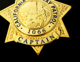 US California Highway Patrol CHP Captain Badge Replica Movie Props With Number 1066