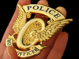 Police Motor Motorcycle Officer Cap Badge Solid Copper Replica Movie Props