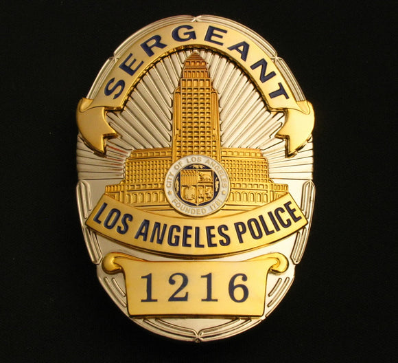 LAPD Los Angeles Police Sergeant Badge Solid Copper Replica Movie Props With Number 1216