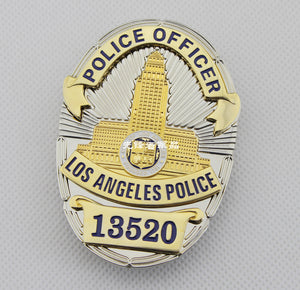 LAPD Los Angeles Police Officer Badge Solid Copper Replica Movie Props With Number 13520