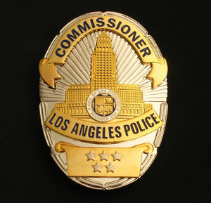 LAPD Los Angeles Police Commissioner Badge Solid Copper Replica Movie Props With Five Stars