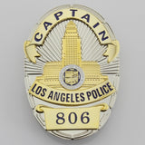 LAPD Los Angeles Police CAPTAIN Badge Solid Copper Replica Movie Props With Number 806
