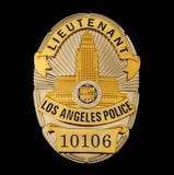 LAPD Los Angeles Police LIEUTENANT Badge Solid Copper Replica Movie Props With Number 10106