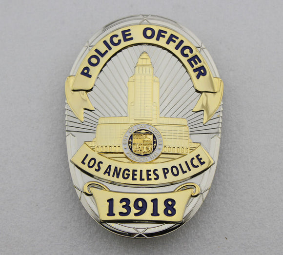 LAPD Los Angeles Police Officer Badge Solid Copper Replica Movie Props With Number 13918