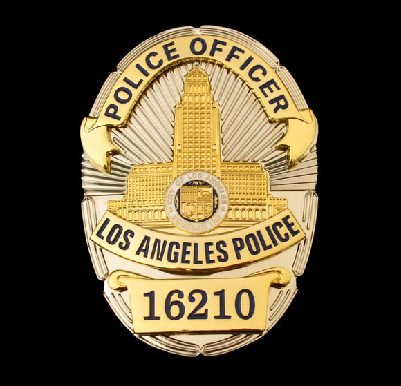 LAPD Los Angeles Police Officer Badge Solid Copper Replica Movie Props With Number 16210