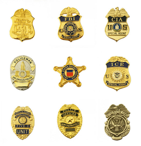 US Police Badge Lapel Pin Cop Brooch 9 Styles