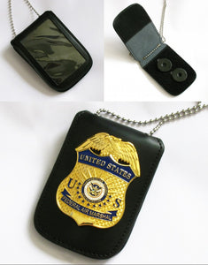 Multi-purpose Leather Holder/ Holster/ Wallet For Multi-size Police Badges & ID Card