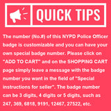 NY New York Police Officer Badge Replica Movie Props *Customizable Badge Number*