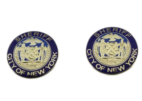 A Pair of NYPD New York City Sheriff Collar Lapel Pins Golden