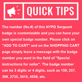 NY New York Sergeant Police Badge Replica Cosplay Movie Props *Customizable Badge Number*