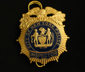 NYPD New York Police INSPECTOR Badge Solid Copper Brooch Pin Replica Movie Props