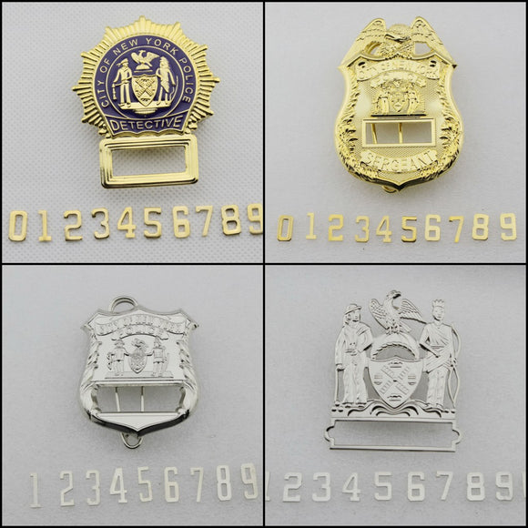 NYPD New York Police Badge Replica Movie Props (Blank Badge with 0-9 Numbers)