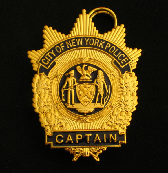 NYPD New York Police Captain Badge Solid Copper Replica Movie Props