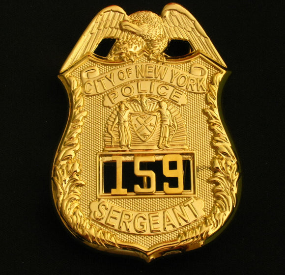 NYPD New York Police Sergeant Badge Solid Copper Replica Movie Props With Number 159