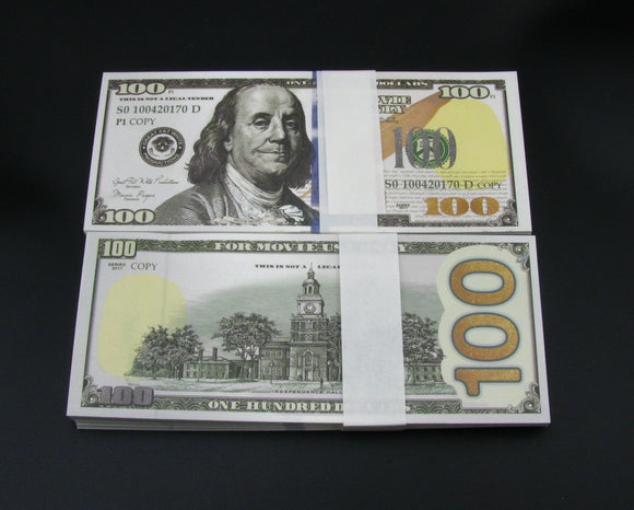 100 Pieces of $100 Dollars Full Print Prop Money New Style Movie Props