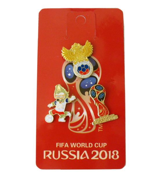 3 Pieces 2018 Russia World Cup Mascot Waka & Emblem Brooch Pin Badges Set Replica