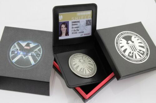 A Set of Marvel Agents of Shield S.H.I.E.L.D. Agent Badge Simmons Cosplay Movie Props