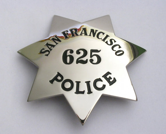 San Francisco Detective Police Badge Solid Copper Replica Movie Props With Number 625