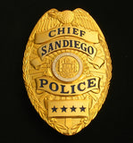 US Sandiego Chief Police Badge Solid Copper Replica Movie Props With Four Star