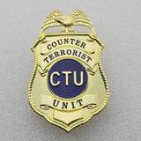 US CTU Counter Terrorist Unit Badge Solid Copper Replica Movie Props