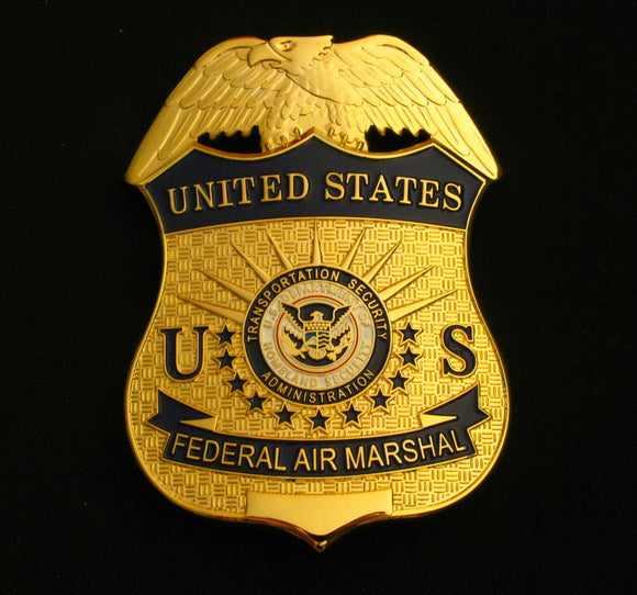US DHS TSA Federal Air Marshal Badge Solid Copper Replica Movie Props