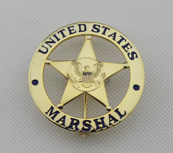 US Federal Court Law Enforcement Marshal Gold Badge Replica Movie Props