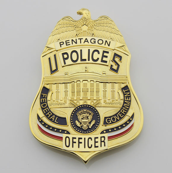 US Pentagon Police Officer Badge Solid Copper Replica Movie Props