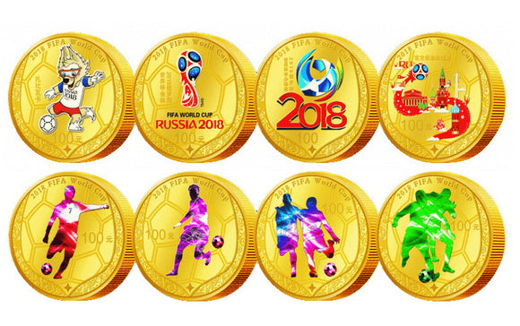 Rare 2018 Russia FIFA World Cup 8x100 Yuan 24k Gold Plated Colored Coins Set With Box & COA Replica