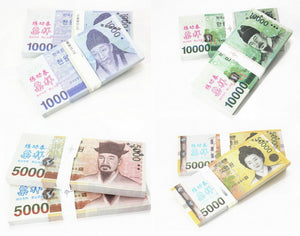 KRW Won Banknotes Paper Play Money Movie Props