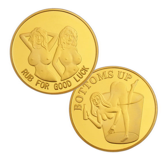 Bottoms Up Booze Hound Pin Up Lucky Heads Tails Sexy Lady Gold Challenge Coin