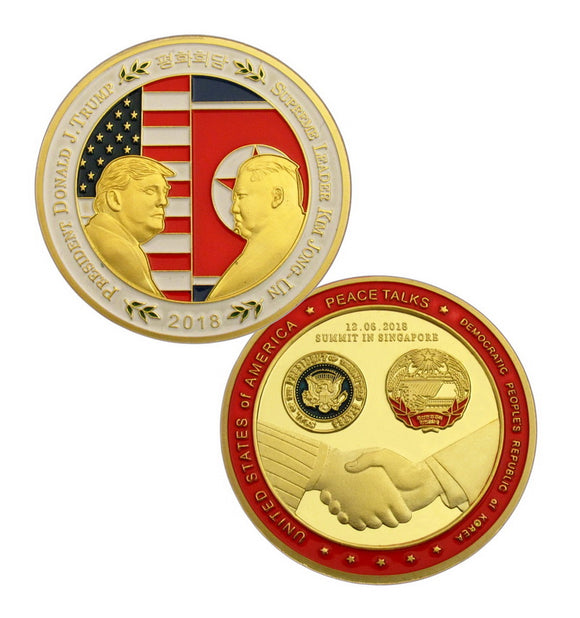 2018 US President Trump & Kim Jong Un Peace Talks Summit 24K Gold Plated Coin