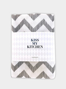 "kiss my kitchen Geschirrtuch ""Zickzack white / black"""