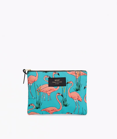 "-40% - LAST ONE!! WOUF ""PINK FLAMINGOS"" Large Pouch Bag"