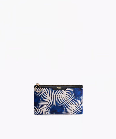 "EINZELSTÜCK!! WOUF ""BLUE PALMS"" Pocket Clutch, Velvet / Samt"