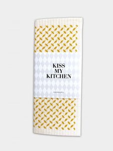 "kiss my kitchen Schwammtuch ""Pali white/yellow"""